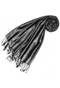 Silk + Viscose mens scarf paisley jaquard silver gray LORENZO CANA
