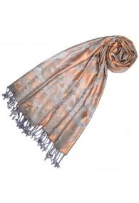 Viscose scarf soft pink Gray Paisley LORENZO CANA