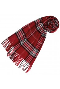 Mens Scarf Cashmere Brushed Cherry Red Check LORENZO CANA