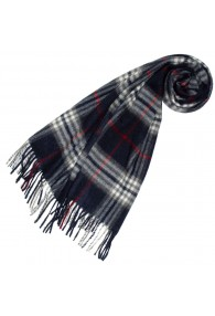 Mens Scarf Cashmere Brushed Black Red Check LORENZO CANA