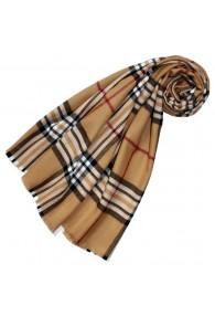 Polyacrylic + wool mens scarf brown checked LORENZO CANA