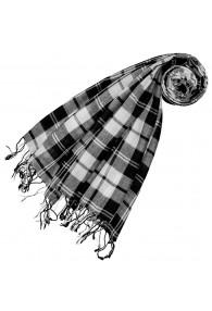 Cashmere + wool scarf white gray LORENZO CANA