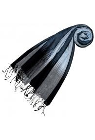 Cashmere + wool scarf blue striped LORENZO CANA