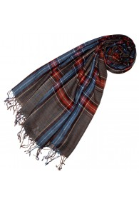 Cashmere + wool scarf blue red brown LORENZO CANA