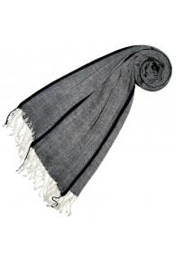 Cashmere + wool scarf gray black LORENZO CANA