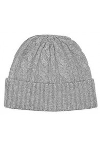 Winter mens beanie Cashmere Cable Knit Gray LORENZO CANA