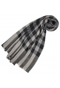 Cashmere mens scarf uncolored gray rough checked LORENZO CANA