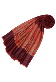 Cashmere mens scarf wine red paisley LORENZO CANA
