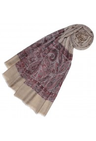 Cashmere mens scarf sand maroon paisley LORENZO CANA