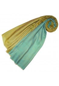 Cashmere scarf doubleface lime and turquoise green LORENZO CANA