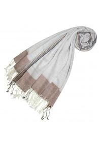 Cashmere + wool scarf brown light gray LORENZO CANA