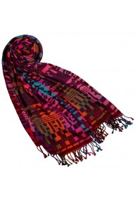 Cotton and wool scarf pink turquoise green LORENZO CANA