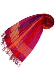 Cotton and wool mens scarf pink red purple LORENZO CANA