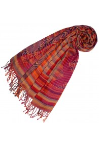 Cotton and wool scarf pink red beige LORENZO CANA