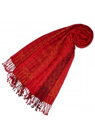 Cotton and wool scarf red black yellow LORENZO CANA