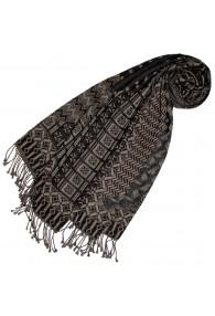 Cotton and wool scarf gray beige black LORENZO CANA