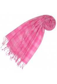 Cashmere + wool scarf pink check LORENZO CANA