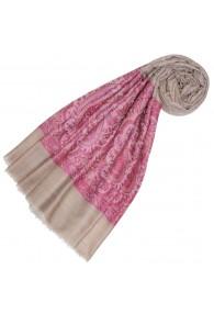 Cashmere mens scarf Sand Pink Paisley LORENZO CANA