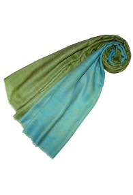 Cashmere scarf doubleface grass and turquoise LORENZO CANA