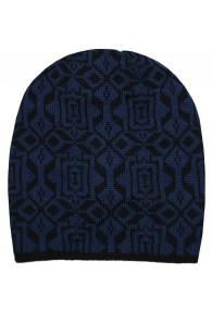 Reversible mens beanie Alpaca Wool Blue Black LORENZO CANA