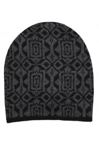 Reversible mens beanie Alpaca Wool Gray Black LORENZO CANA