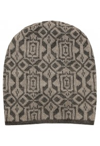 Reversible mens beanie Alpaca Wool Brown Black LORENZO CANA