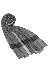 Fluffy Cashmere Stole Pigeon Grey Cappuccino LORENZO CANA