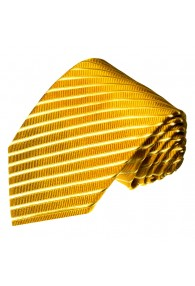 XL Neck Tie 100% Silk Striped Yellow Gold LORENZO CANA