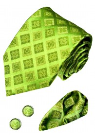 Men's Neck Tie Set 100% Silk Checkered Green LORENZO CANA