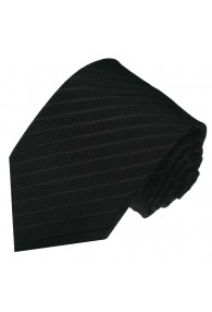 Neck Tie 100% Silk Striped Black Charcoal LORENZO CANA