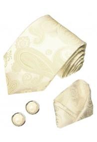 Men's Neck Tie Set 100% Silk Paisley Ivory LORENZO CANA
