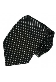 Neck Tie 100% Silk Polka Dot Black White LORENZO CANA