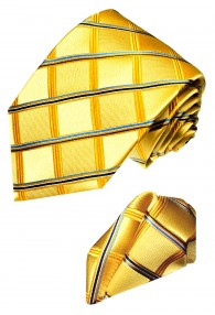 Neck Tie Set 100% Silk Checkered Gold Blue LORENZO CANA