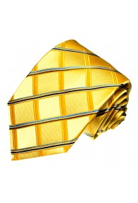 Neck Tie 100% Silk Checkered Gold Blue LORENZO CANA