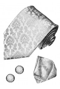 Krawattenset 100% Seide Floral silber silbergrau LORENZO CANA