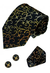 Men's Neck Tie Set 100% Silk Floral Black Yellow LORENZO CANA