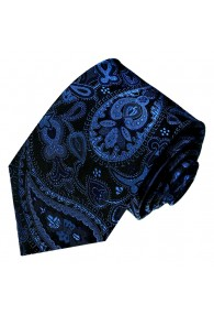 Neck Tie 100% Silk Paisley Dark Blue Black LORENZO CANA