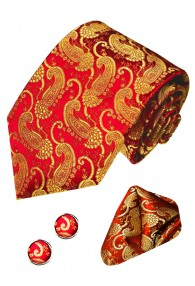 Necktie Set 100% Silk Paisley Red For Men LORENZO CANA