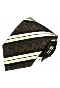 XL Neck Tie 100% Silk Striped Brown White LORENZO CANA
