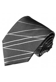 XL Neck Tie 100% Silk Striped Grey White LORENZO CANA