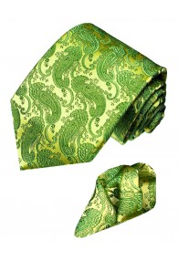 Neck Tie Set 100% Silk Paisley Green Lime LORENZO CANA