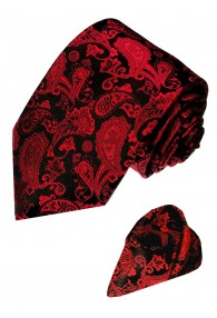 Neck Tie Set 100% Silk Paisley Dark Red Black LORENZO CANA