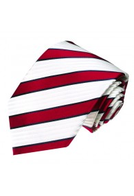 XL Necktie 100% Silk Striped Red White LORENZO CANA