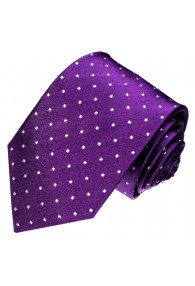 XL Necktie 100% Silk Polka Dot Purple LORENZO CANA