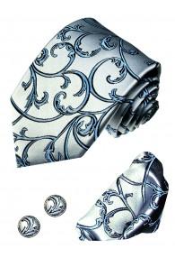 Necktie Set 100% Silk Floral Blue For Men LORENZO CANA