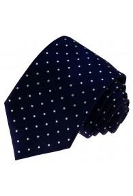 Neck Tie 100% Silk Polka Dot Dark Blue White LORENZO CANA