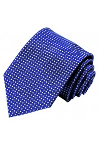 Neck Tie 100% Silk Checkered Blue White LORENZO CANA