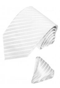 Neck Tie Set 100% Silk Striped White Silver LORENZO CANA