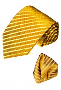 Neck Tie Set 100% Silk Striped Gold Yellow LORENZO CANA