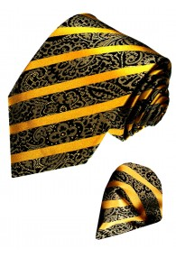 Krawattenset 100% Seide Paisley gold schwarz LORENZO CANA